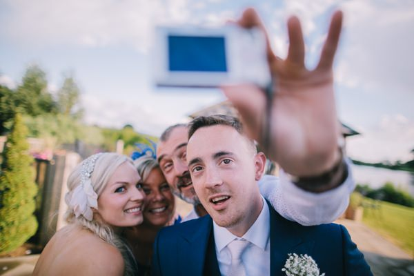 Stylish White DIY Floral Filled Barn Wedding Selfie http://www.chrisbarberphotography.co.uk/
