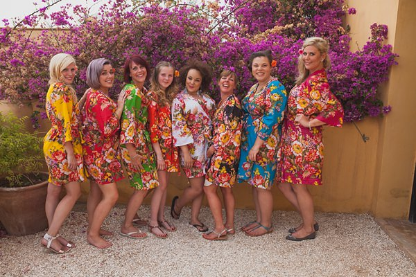Chilled Colourful Marrakech Wedding Floral Dressing Gowns Bride Bridesmaid http://www.sallytphotography.com/