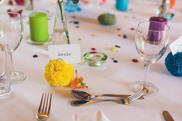Creative Fun Rainbow Wedding Wool Pom Pom Place Name http://www.christinewehrmeier.com/