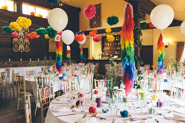 Creative Fun Rainbow Wedding Pom Pom Tassel Balloons http://www.christinewehrmeier.com/