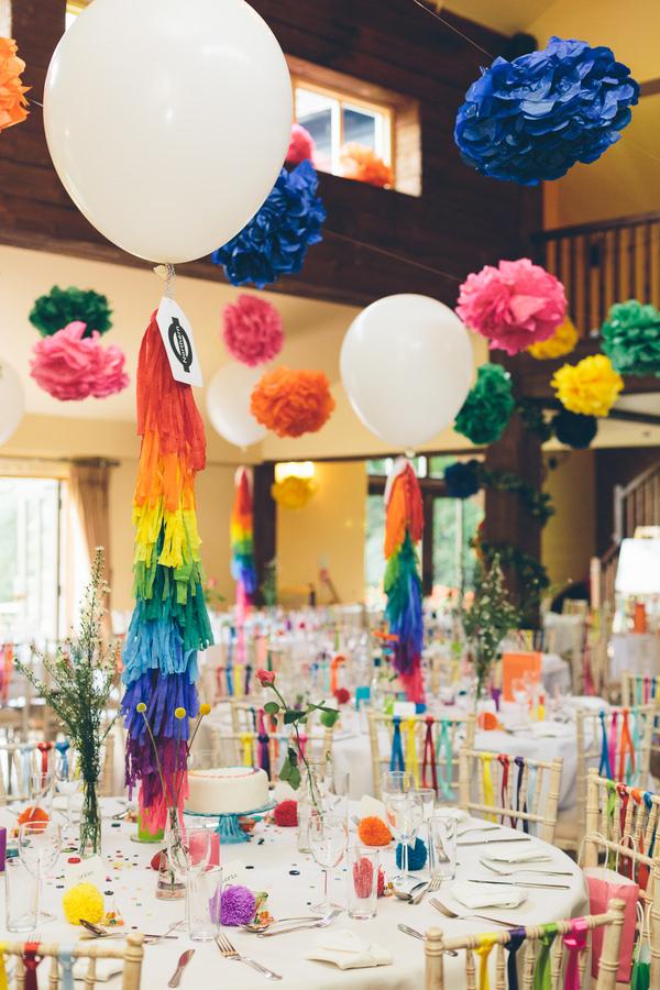 Creative Fun Rainbow Wedding Balloons Tassels Pom Poms Ribbon Chairs http://www.christinewehrmeier.com/