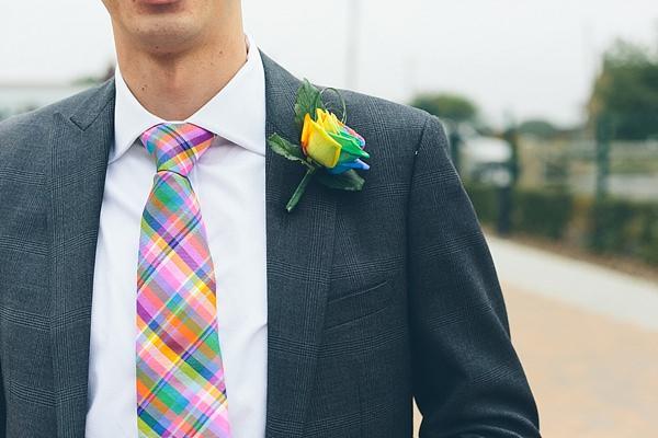 Creative Fun Rainbow Wedding Groom Tie Buttonhole Rose http://www.christinewehrmeier.com/
