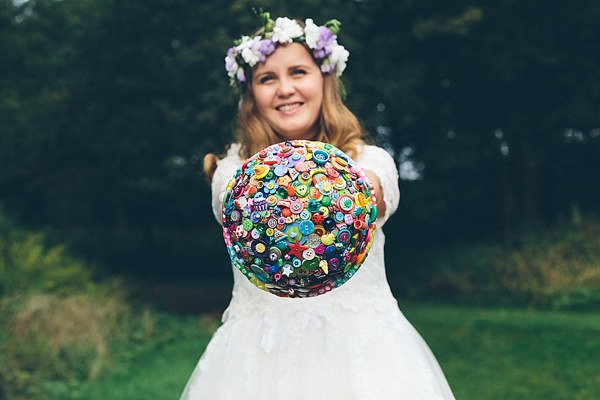 Creative Fun Rainbow Wedding Button Bride Bouquet  http://www.christinewehrmeier.com/