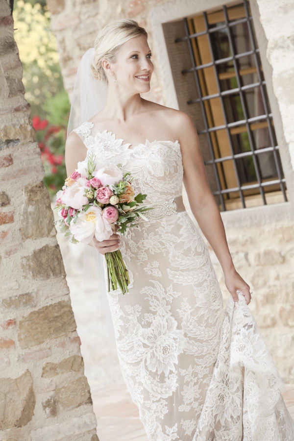 Tuscan Countryside Destination Wedding Lace Blush Dress Bride http://www.angelicabraccini.com/
