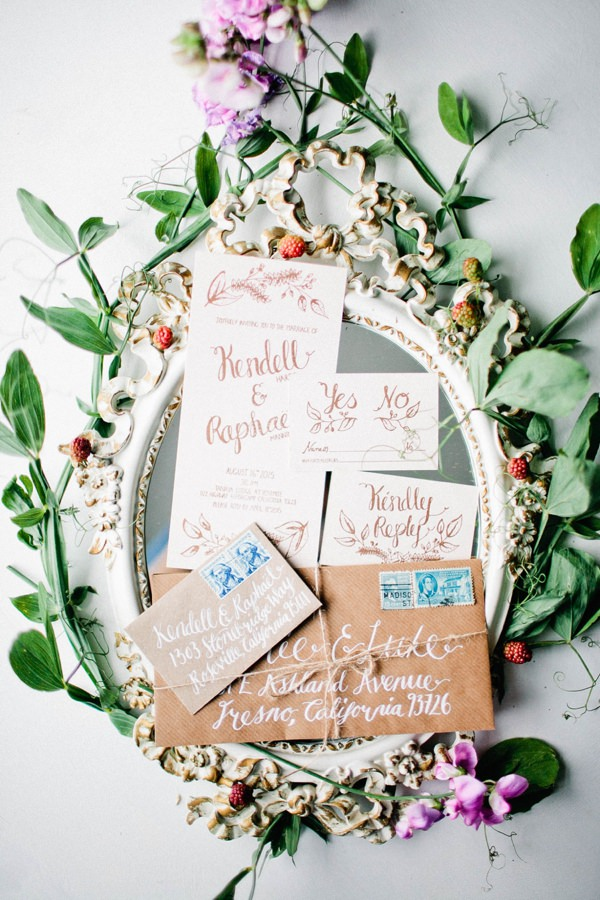 Whimsical Calligraphy Stationery Beautiful Summer Provence Flower Wedding Ideas http://www.brittspring.com/