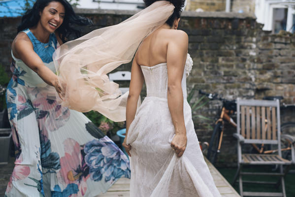 Blush Pink Veil Bride Eclectic DIY London Wedding http://chironcole.com/