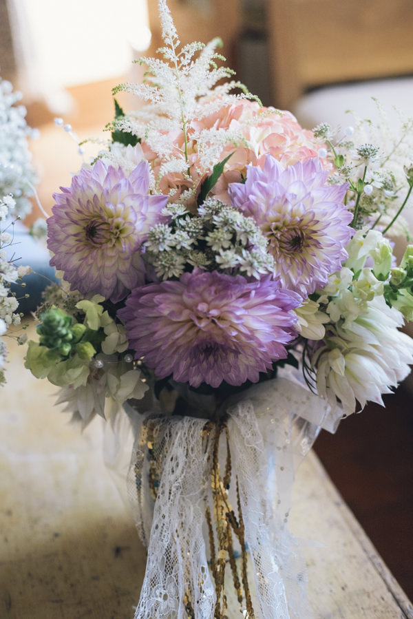 Dahlia Bouquet Flowers Bridal Eclectic DIY London Wedding http://chironcole.com/