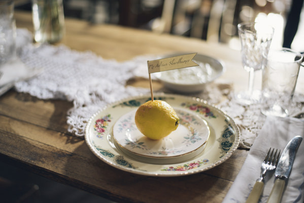 Eclectic DIY London Wedding Lemon Place Setting Name Flag Doily Table Runner Vintage China  http://chironcole.com/