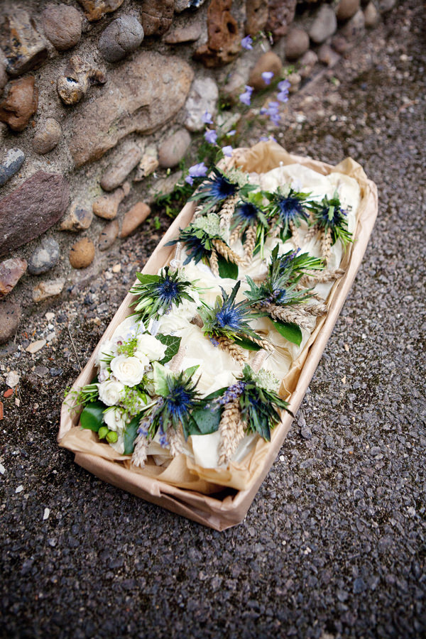 Blue 1920s Floral Feel Wedding Thistle Wheat Buttonholes http://jasminejadephotography.co.uk/