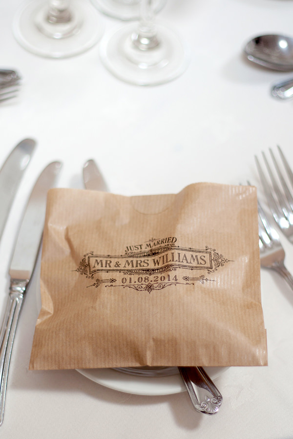 Blue 1920s Floral Feel Wedding Stamped Brown Paper Bag Favours  http://jasminejadephotography.co.uk/