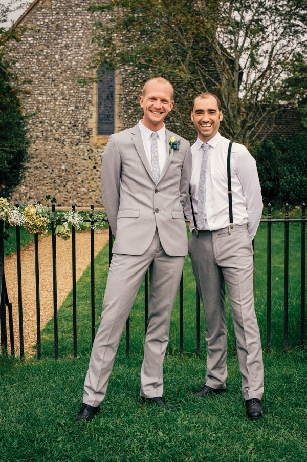 Colourful Homemade Village Hall Wedding Grey Suit Groom http://hollydeacondesign.com/