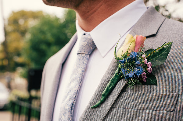 Colourful Homemade Village Hall Wedding Blue Pink Groom Buttonhole http://hollydeacondesign.com/