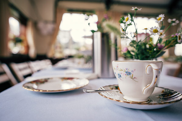 Colourful Homemade Village Hall Wedding Tea Cup Vintage Crockery http://hollydeacondesign.com/