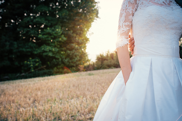 Stephanie Allin Pocket Dress Bride Lace Sleeves Colourful Homemade Village Hall Wedding http://hollydeacondesign.com/