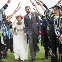 Morris Dancers Flower Crowns Outdoor Barn Wedding http://paoladepaolaweddings.com/
