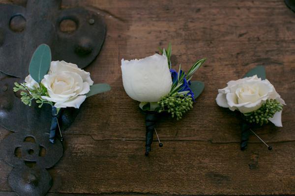 Simple Elegant Black Tie Minnesota Wedding Rose White Buttonholes http://www.erinjohnsonphotoblog.com/
