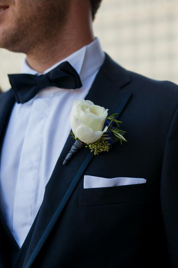 Simple Elegant Black Tie Minnesota Wedding Rose Buttonhole Groom http://www.erinjohnsonphotoblog.com/