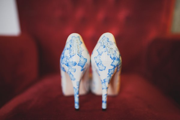 Royal Blue Vintage Glamour Wedding Painted Floral Shoes Bridal http://www.sallytphotography.com/