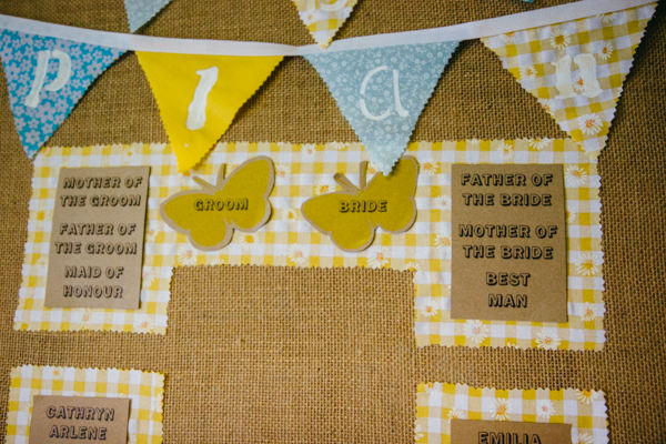 Earthy Natural Rustic Yellow Turquoise Wedding Hessian Bunting Seating Plan  http://www.graceandtheheart.co.uk