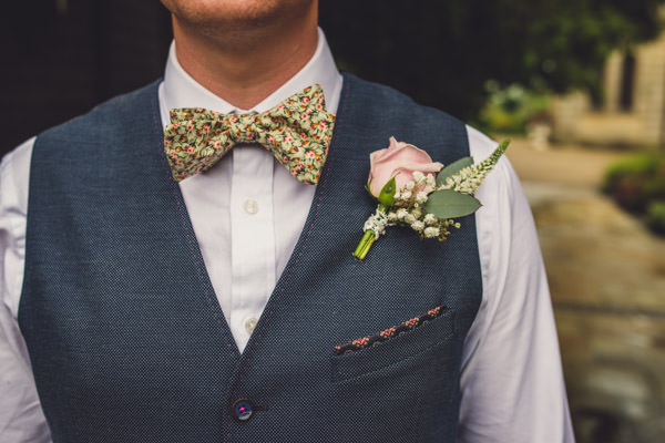 Quirky Stylish Lovely Big Party Wedding Floral Bow Tie Rose Buttonhole Waistcoat Groom http://www.mattbrownphotography.co.uk/