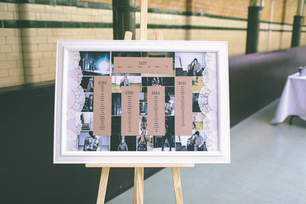 Creative Hand Crafted Swimming Pool Wedding Doily Photo Seating Plan Tables http://www.emmaboileau.co.uk/