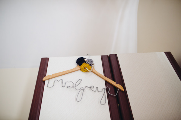 Custom Bride Dress Hanger Dress Creative Yellow 'Greys' Waterfall Woods Wedding http://www.lucylittle.co.uk/