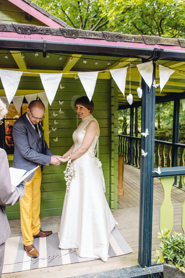 Ceremony Personalised Rug Marriage Creative Yellow 'Greys' Waterfall Woods Wedding http://www.lucylittle.co.uk/