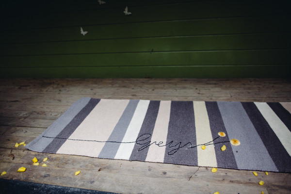 Surname Rug Marriage Personal Ceremony Creative Yellow 'Greys' Waterfall Woods Wedding http://www.lucylittle.co.uk/