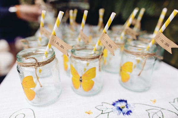 Butterfly Twine Mason Jam Jars Kilner Straws Drinks Creative Yellow 'Greys' Waterfall Woods Wedding http://www.lucylittle.co.uk/