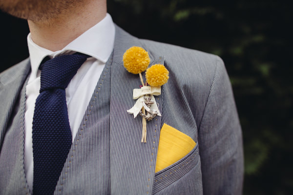 Pom Pom boutonnières buttonhole groom Creative Yellow 'Greys' Waterfall Woods Wedding http://www.lucylittle.co.uk/