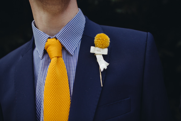 Pom Pom boutonnières buttonhole groom blue gingham shirt yellow knitted tie Creative Yellow 'Greys' Waterfall Woods Wedding http://www.lucylittle.co.uk/