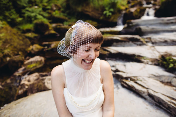 Birdcage Veil Bride Accessory Creative Yellow 'Greys' Waterfall Woods Wedding http://www.lucylittle.co.uk/