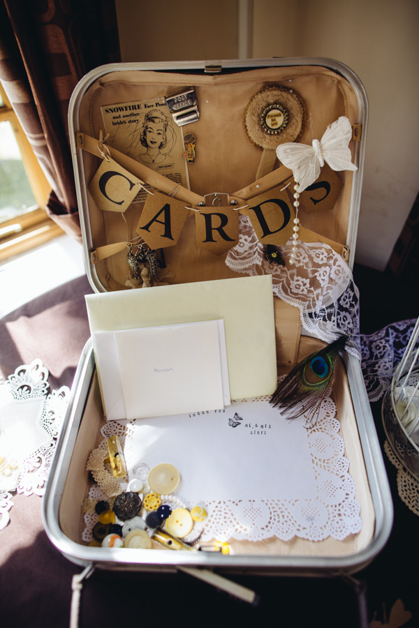 Suitcase Cards Vintage Creative Yellow 'Greys' Waterfall Woods Wedding http://www.lucylittle.co.uk/