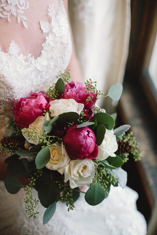 Cosy Woodsy House Wedding Ideas Pink Red Peony Ivory Rose Bouquet Bridal Flowers http://www.jennifervanelk.com/