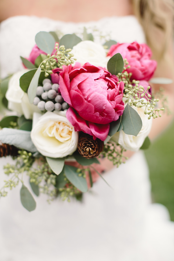 Cosy Woodsy House Wedding Ideas Red Peony Rose Ivory Bouquet Flowers Bridal  http://www.jennifervanelk.com/
