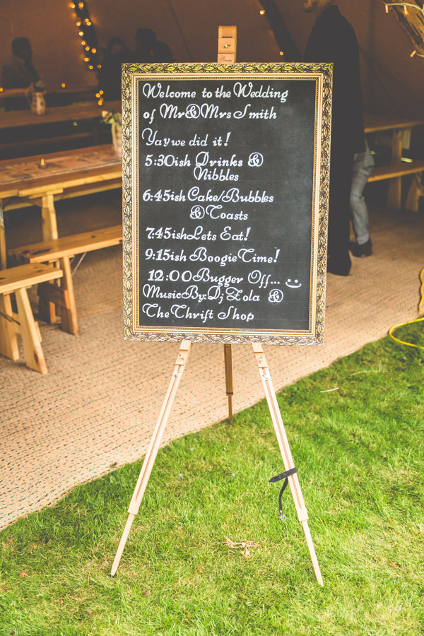 Blackboard Sign Vintage Tea Party Tipi Wedding  http://lovethatsmilephotography.com/