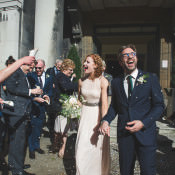 Cool & Stylish London Pub Wedding with a Blush Dress