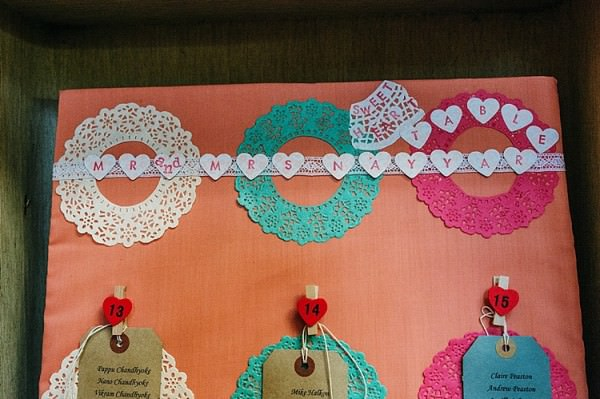 Doily Table Seating Plan Luggage Tag Colourful Home Made Multicultural Wedding http://www.babbphoto.com/