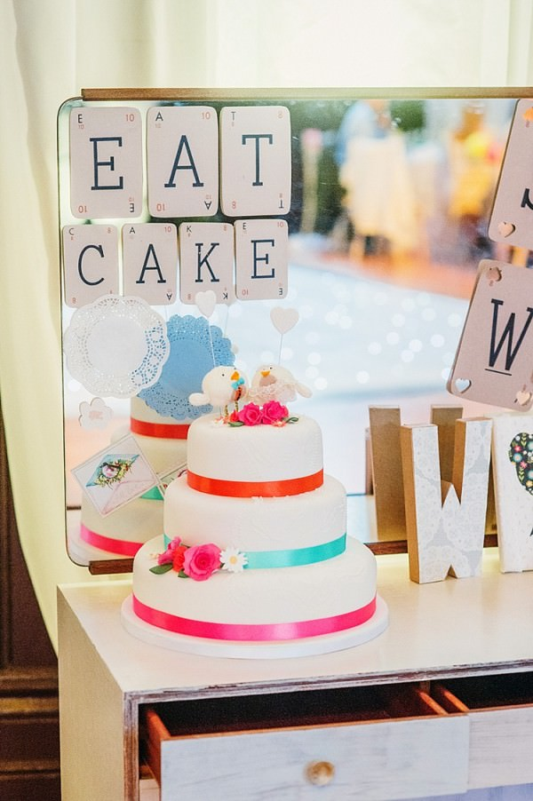 White Tier Cake Colourful Home Made Multicultural Wedding http://www.babbphoto.com/