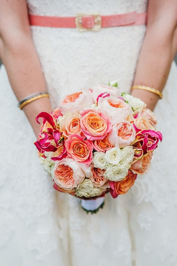 Coral Orange Ivory Cream Flowers Bouquet Bridal Colourful Home Made Multicultural Wedding http://www.babbphoto.com/