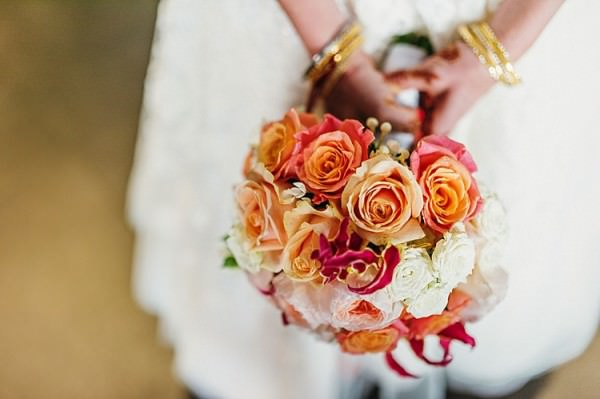 Coral Orange Rose Bouquet Bride Flowers Colourful Home Made Multicultural Wedding http://www.babbphoto.com/