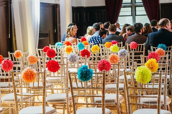 Pom Pom Chairs Colourful Home Made Multicultural Wedding http://www.babbphoto.com/