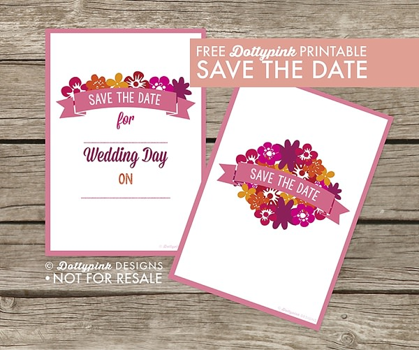 Free Save The Date Print Printable Download Pretty Pink UK Wedding