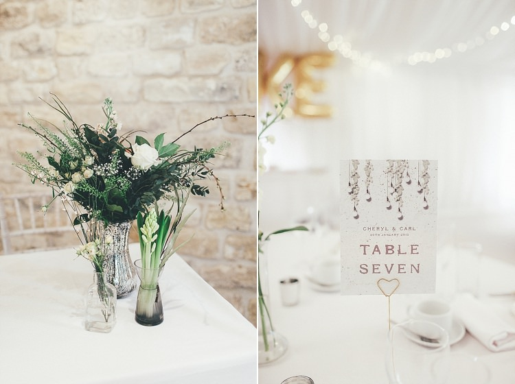 Table Number Lucy Ledger Stationery Whimsical Green White Fairy Lights Winter Wedding http://jesspetrie.com/