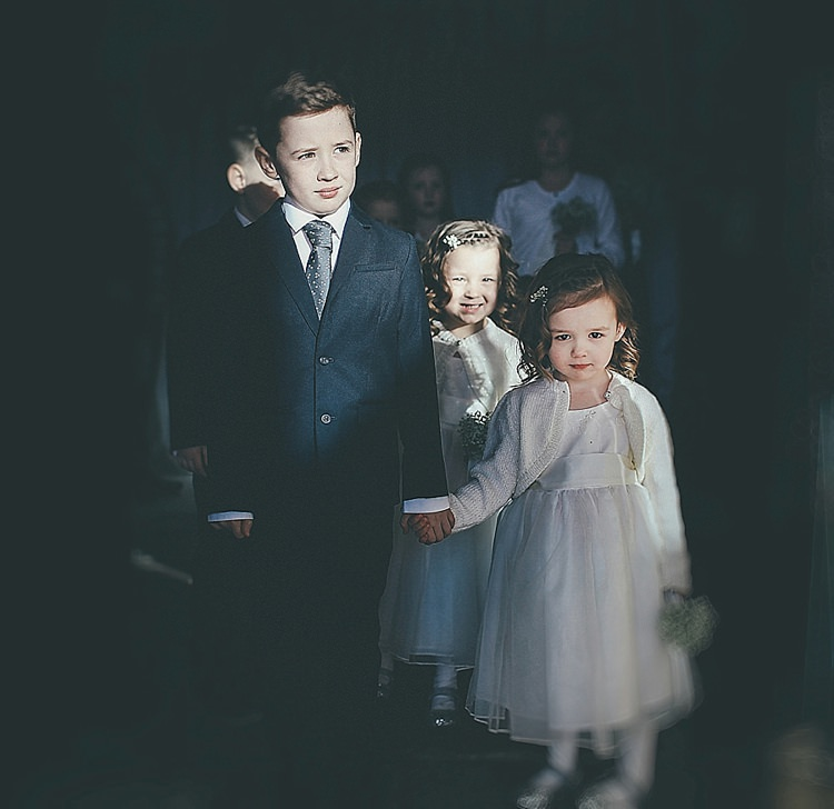 Flowergirls Pageboy Whimsical Green White Fairy Lights Winter Wedding http://jesspetrie.com/