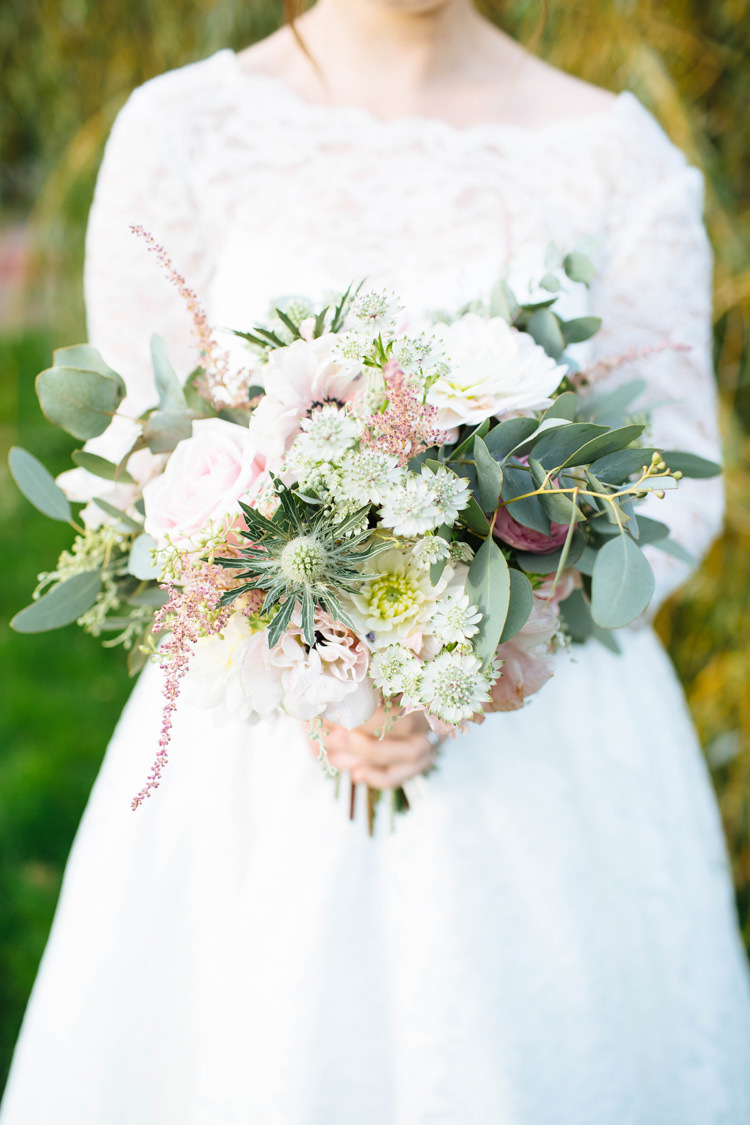 Wild Natural Pink White Ivory Rose Thistle Flowers Bouquet Bride Bridal Pretty Quirky DIY Village Hall Wedding http://lauradebourdephotography.com/