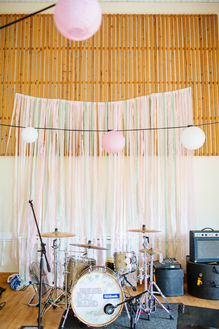Ribbon Backdrop Decor Pastel Pink Pretty Quirky DIY Village Hall Wedding http://lauradebourdephotography.com/