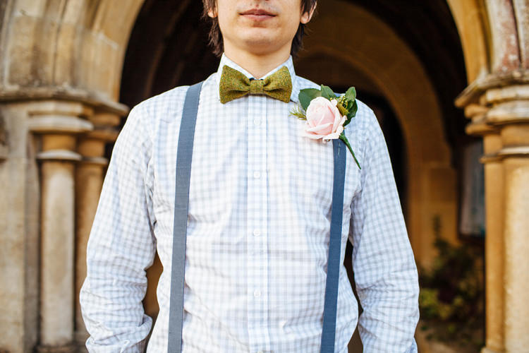 Gingham Checked Shirt Braces Bow Tie Groom Pretty Quirky DIY Village Hall Wedding http://lauradebourdephotography.com/