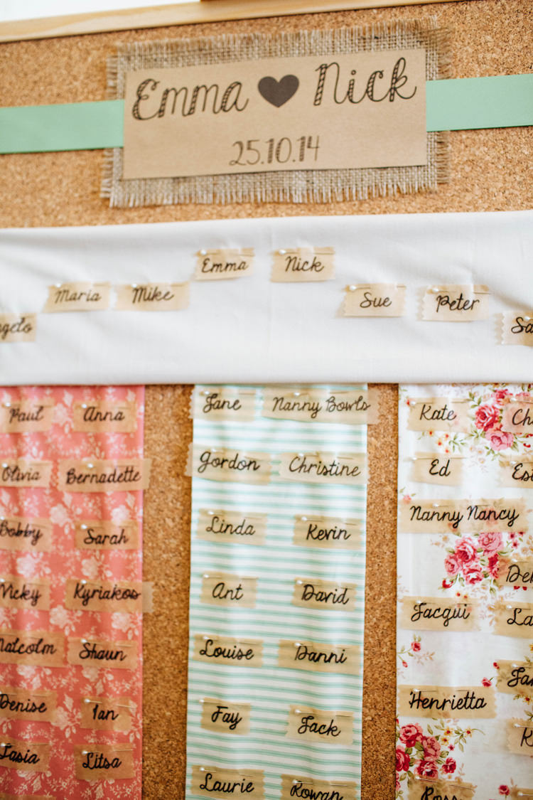 Cork Board Fabric Floral Table Seating Plan Pretty Quirky DIY Village Hall Wedding http://lauradebourdephotography.com/