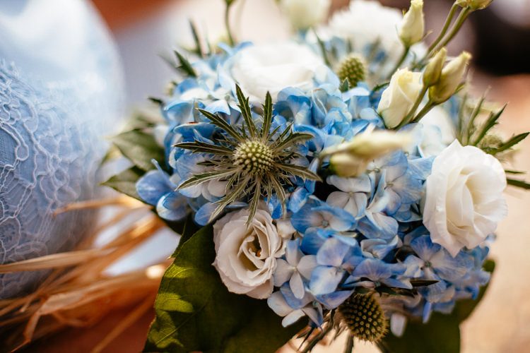 Blue Hydrangea Rose Thistle Bouquet Flowers Bridal Bride Relaxed Vintage Stylish Country Wedding http://www.cassandralane.co.uk/